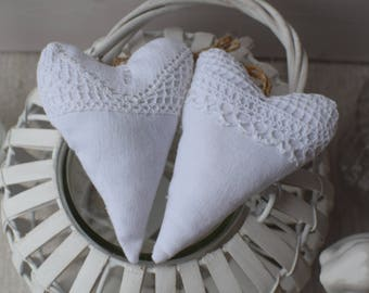 Hearts door cushion white fabric and lace - white hearts romantic heart - shabby and lace - heart fabric - fabric heart