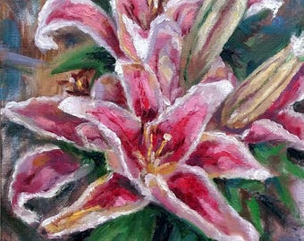 "Original Oil painting, Pink Lily Flower, 1707194, 12""x9"""