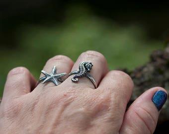 Ring Set, Seahorse and Starfish, Stacking Ring, Mermaid ring, Sterling Silver Stacking Rings, Ocean, Sea, Bohemian - Made to Order