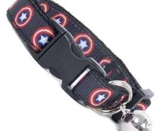 Captain America Cat Collars. Cat or Kitten Safety Collar with Quick Release Buckle and Removable Bell