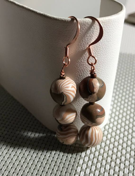 Pierced Dangle Polymer Clay Earrings Beige and Tans