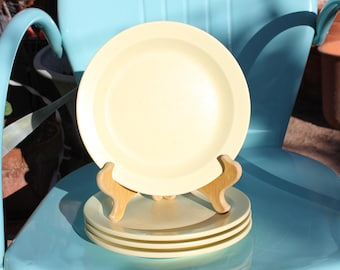 1940's - 1950's Vintage Boonton Melmac Luncheon Plates - Set of Four ( 4 ) - Pale Yellow - 8 3/4 Inches - Fair to Good Condition