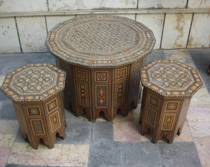 Set of 3 Vintage Syrian side tables, tea tables, Inlaid Syrian tables, Mother of Pearl tables, Syrian Mosaic, Entryway tables, Carved wood