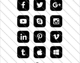 Social Media SVG, Social Media Clipart, Social Network, Social Icon svg Cut File,DXF,PNG Use with Silhoutte Studio & Cricut Instant Download