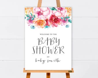 Welcome Sign | Baby Shower Welcome Sign | Bridal Shower Welcome Sign | Floral Welcome Sign | Customised Printable