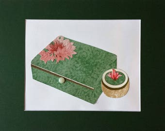 Original paper collage matted for hanging -- Boxes Series 2017 #14 -  Wall Art in Green and Pink