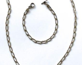 Sterling Silver Set Long Necklace Bracelet chain rocking horse 36.9 grams charm