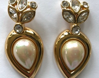 mint Christian Dior earrings drop pearl rhinestone