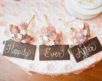 Set of 3 wedding signs here comes the bride
