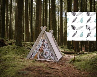 Play A-Frame Tent Teepee Blue,Black and White Feather Distressed Rustic