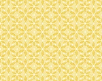 By The HALF YARD - Mommy and Me by Shelly Comiskey for Henry Glass, Patt #6356-44 Soft Yellow Flowers, Tonal Yellow on Yellow Flower Print