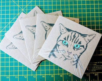 Cat Lovers Pack of Five Cards, Cat Greetings Cards,