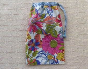 Liberty Fabric Small Floral Drawstring Bag