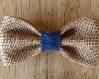 Navy bow tie with blue fabric and burlap canvas