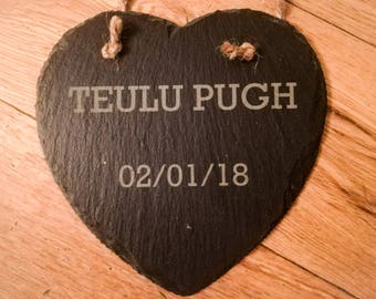 Personalised wedding slate heart