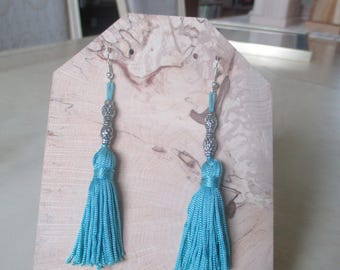 Earrings blue Pompom for child or woman