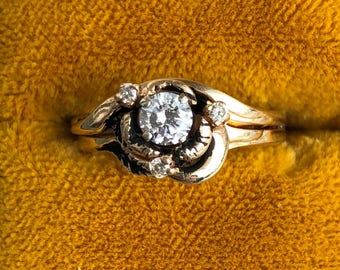 1/3 carat diamond and yellow gold ring