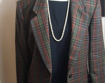 80s Miss Paris by Takihyo - Brown, Multi-color Plaid, Single Breasted Blazer - Size 9
