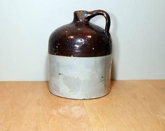"PRIMITIVE ANTIQUE JUG Crockery Pottery Stoneware Whisky Jug Style 11"" Vintage Jug Rustic Farmhouse Prop Country Cottage"