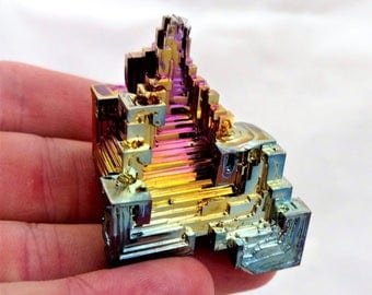 Rainbow Bismuth Temple 50g Lab Grown Crystal Jewelry Display Specimen Educational Metaphysical Metal Healing Stone