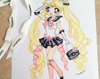 Sailor Moon in inspired fashion illustration sparkly drawing