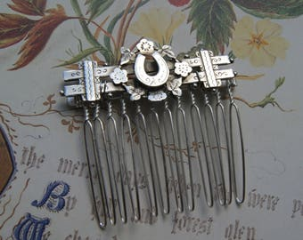 Antique Sterling Silver Horseshoe Hair Comb- Wedding, Bride, Bridesmaid, Prom Hair Accessories