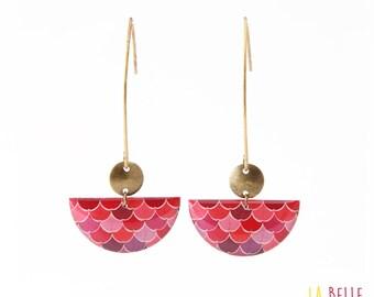 Earrings hook half moon waves pattern pink