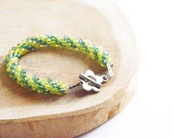 "Kumihimo bracelet ""lemon yellow & green"" / Bracelet acrylic pearls / handmade / Boho Bohemian Style"