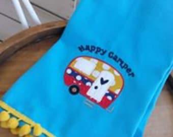 camper teatowel, appliqued dishtowel, housewarming, cutom hostess gift, happy camper, retro camper