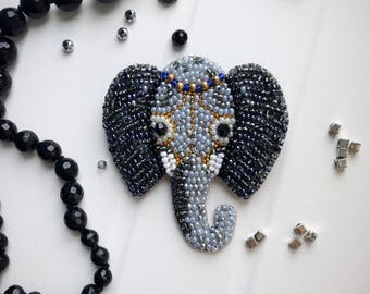 Elephant brooch beaded animal jewelry embroidered pin african elephant gift for luck jewelry