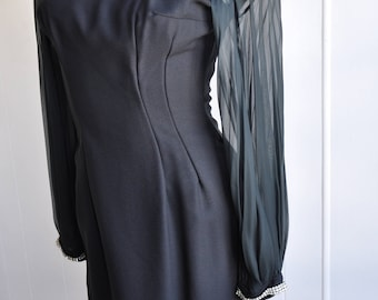 Stunning 1960s Little Black Dress with Sheer Sleeves, Rhinestone Cuffs, Droopy Collar, Size Small