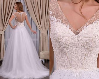 Donna - A Line Beaded Lace Tulle Wedding Dress