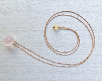 Rose Quartz Silk Cord Scapular-Style Necklace