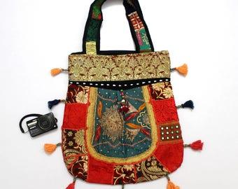 Handmade Ethnic Designer Tribal Banjara Patchwork Embroidered Hippy Fashionable Stylish Trendy Hippie Gypsy Boho Bohemian Carry Bag G268