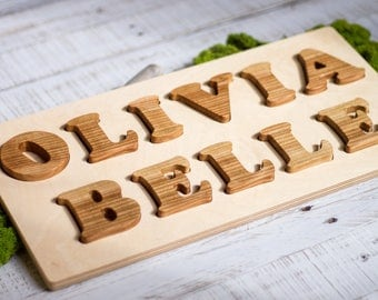 Kids Name Puzzle Custom 2 Lines | First and Last Name Personalized Toy | Boys & Girls Unique Baby Shower Gift | Natural Organic Wooden Game