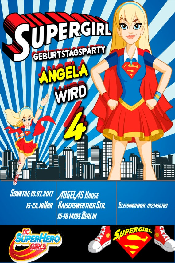 Supergirl Germany Writed Customized Invitation Supergirl - Birthday invitation in germany