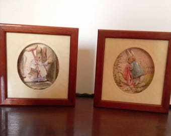 Pictures Beatrix Potter (2), Peter Rabbit, Decoupage 3d, 1991 Made in England