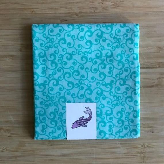 """Premium Cotton Fabric Fat Quarter - Designer Fabric - Quilting Fabric - Fat Quarters 18"""" x 21"""" Turquoise Blue Swirl Print"""