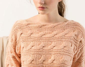 Across knitted sweater with plaits cotton luxury yarn sweater chunky knit