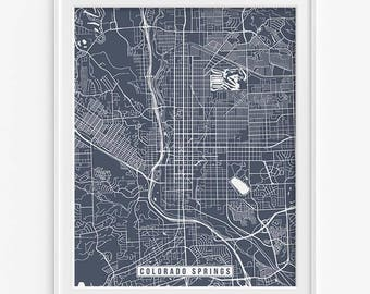 Colorado Springs Print, Colorado Poster, Colorado Springs Map, Colorado Springs Poster, Colorado Print, Street Map, Mothers Day Gift
