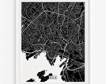 Oslo Skyline Print Norway Travel Wall Art Print Oslo Gift - Norway map poster