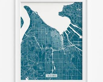 Tacoma Print, Washington Poster, Tacoma Poster, Tacoma Map, Washington Print, Washington Map, Street Map, Home Decor, Valentines Day Gift