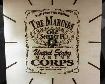 Jack Daniels Inspired USMC Clock