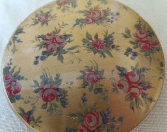 Pretty pale red floral vintage compact mirror