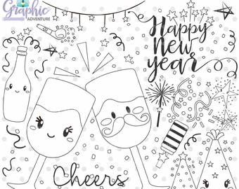 75%OFF - New Year Stamps, Happy New Year Stamps, COMMERCIAL USE, Cheers Stamp, Christmas Stamp, Kawaii Clipart, Planner Stamp, Clip Art