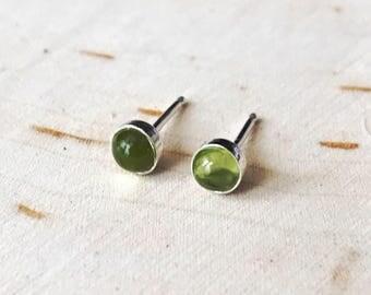 Tiny Peridot Stud Earrings // August Birthstone Earrings // Sterling Silver 14k Gold Fill Studs // 3mm 4mm 5mm