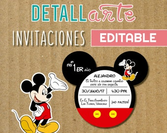 Mickey Mouse Birthday Party Invitation - Mickey Mouse Digital Printable DIY Invitation - Mickey