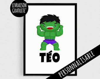 Poster A4 superhero personalized with name - superhero inspirational kids