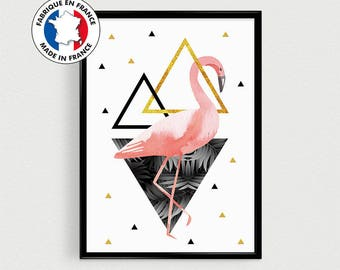 Poster A4 Flamingo - Scandinavian - triangles gold rose gold and black - palm trees
