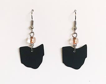 Upcycled Card Earrings - Black Ohio